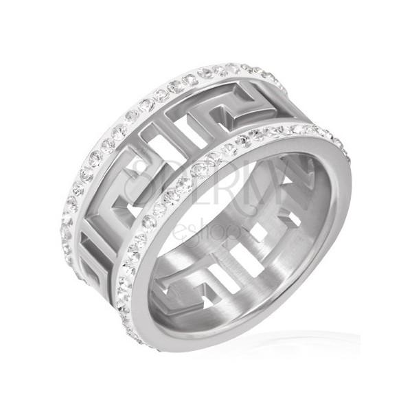 Lśniący stalowy pierścień z wycięciem - symbol grecki, błyszczące pasy