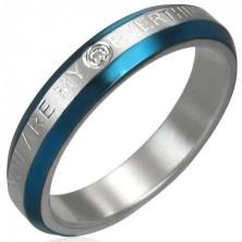 Pierścionek - niebieskie pasy, cyrkonia, napis