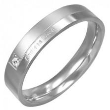 Stalowy pierścionek - Endless Love, cyrkonia