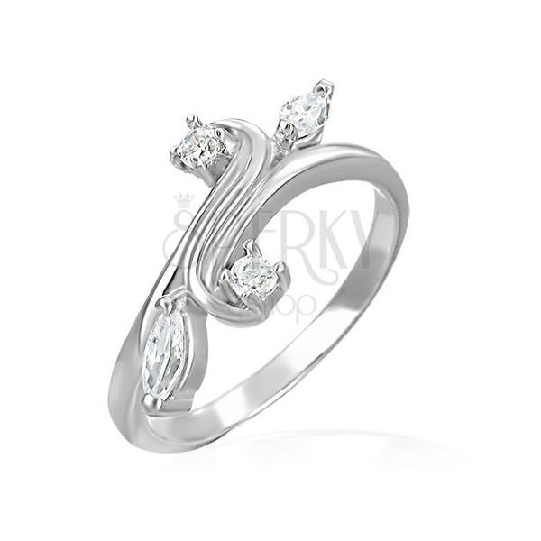 Pierścionek zaręczynowy - rozgałęzienie zakończone cyrkoniami