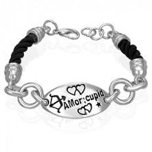 Bransoletka ze wstawką - Amor cupid, skręcony sznurek