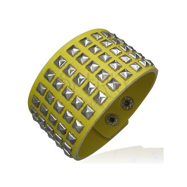 Żółta bransoletka ze sztucznej skóry - wybijana