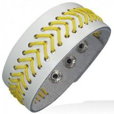 Przeszywana bransoletka ze skóry - żółty sznurek