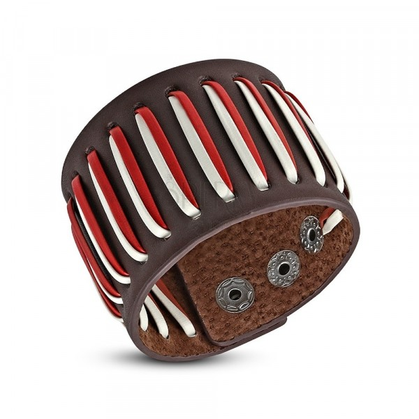 Pikowana bransoletka ze sztucznej skóry, sznurki - białe i czerwone