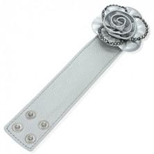 Dekoracyjna skórzana bransoletka - róża, srebrna