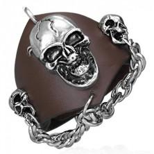 Skórzana bransoletka z wampirem - łańcuch z czaszkami