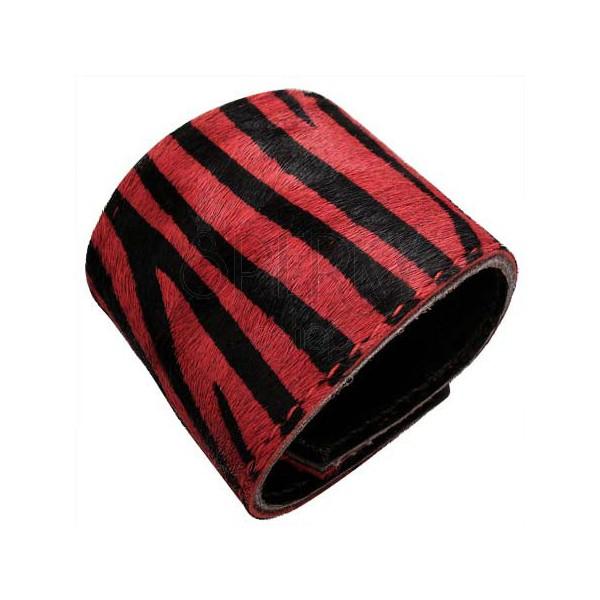 Skóropodobna bransoletka - tygrysi wzór, czerwona