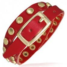 Czerwona skórzana bransoletka - paseczek ze złotymi nitami