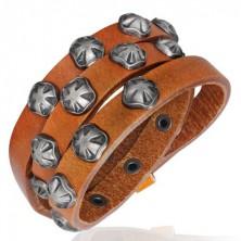 Wąska skórzana bransoletka - symbol maltański, karmelowy