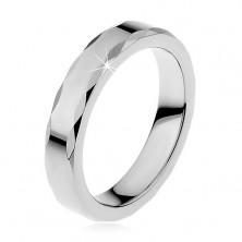Damski pierścionek z wolframu o falistych brzegach