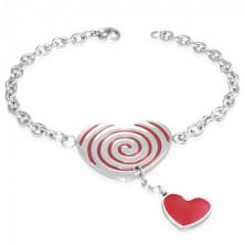 Stalowa bransoletka - czerwone serce ze spiralą, łańcuszek