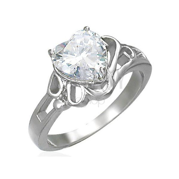 Damski lśniący stalowy pierścionek, duże bezbarwne cyrkoniowe serce