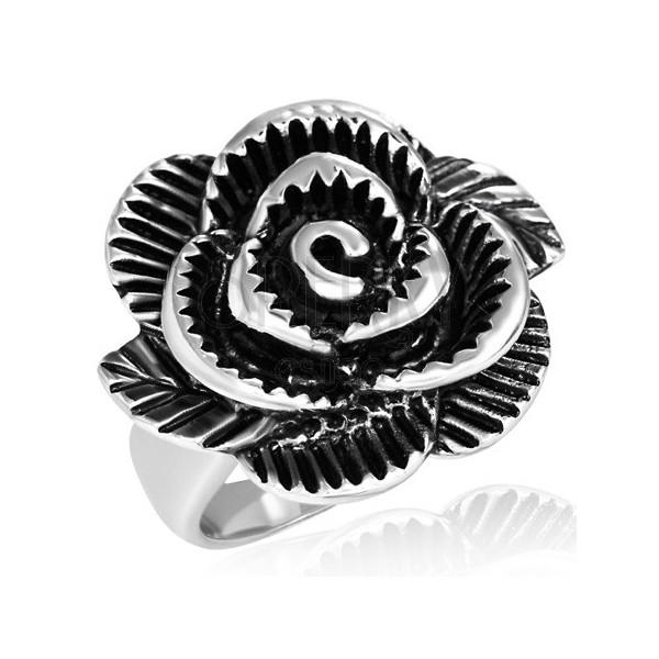 Dwukolorowy stalowy pierścionek - ogromna róża