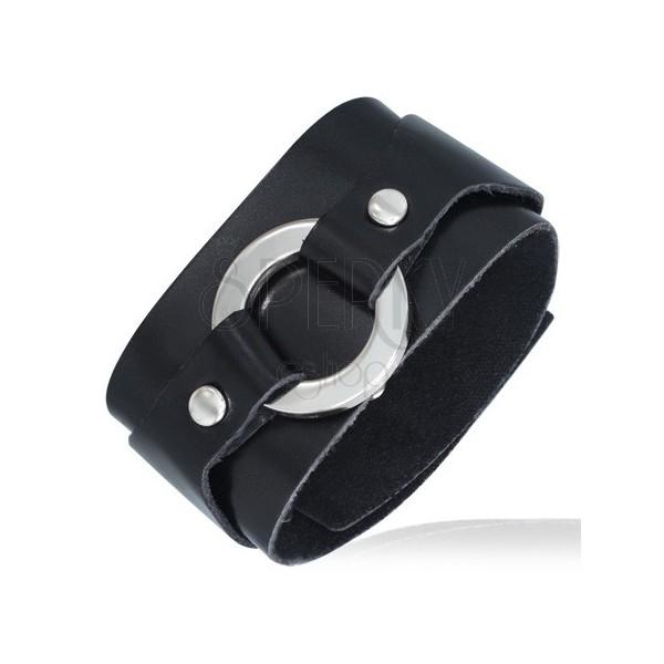 Czarna skórzana bransoletka - okrągła sprzączka