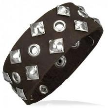 Skórzana bransoletka - kwadratowe nity, dziurki
