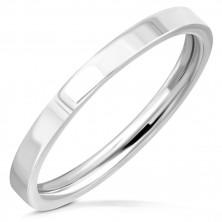 Obrączka ze stali chirurgicznej  - prosty pierścionek z lustrzanym połyskiem, 2 mm