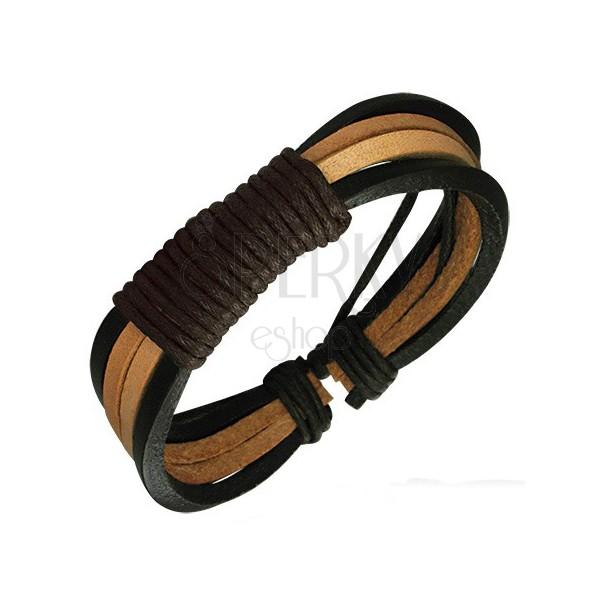 Bransoletka z cienkich paseczków - omotane sznurkiem