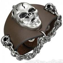 Skórzana bransoletka - wściekłe czaszki, łańcuszek, brązowa
