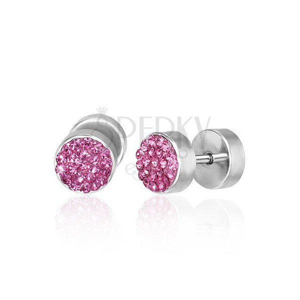 Sztuczny piercing do ucha - różowe cyrkonie, para