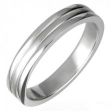 Stalowy pierścionek błyszczący z rowkami 6 mm