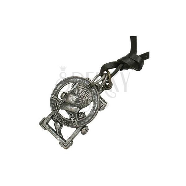Naszyjnik na rzemyku - moneta, krzyż, młotek, gwoździe