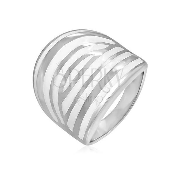 Stalowy pierścień - biała zebra, emaliowany