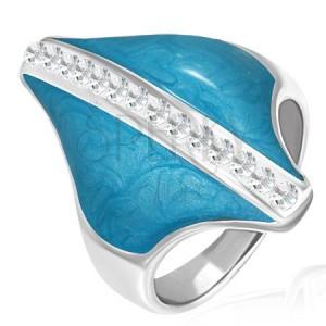 Stalowy pierścionek - niebieski romb, cyrkoniowy pas