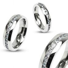 Stalowy pierścionek - symbol wieczności, cyrkonie