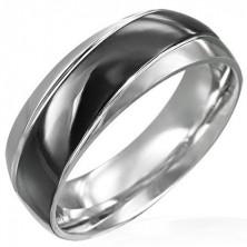 Pierścionek czarno-srebrny z ukośnym czarnym pasem