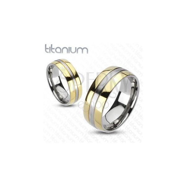 Tytanowy pierścionek - złota i srebrna kombinacja
