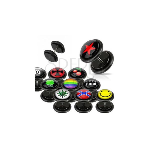 Czarny fake plug - różne loga, gumki