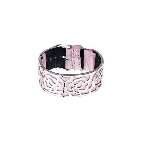Różowa bransoletka ze stalową ozdobą, wycięcia - róże