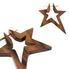Drewniany plug do ucha - gwiazdy, para