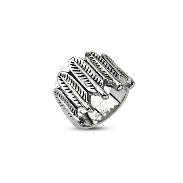 Stalowy pierścionek - indiańskie piórka