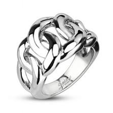 Pierścień ze stali chirurgicznej - przeplatany wzór