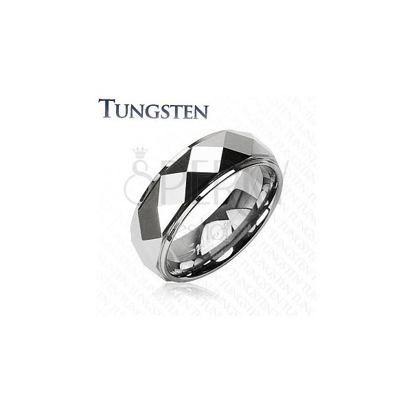 Tungsten pierścionek ze ściętymi rombami, srebrny kolor