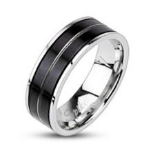 Pierścień ze stali chirurgicznej - czarny kolor, wygrawerowana linia