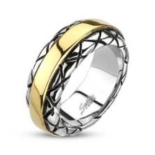 Pierścień ze stali - pozłacany pas środkowy, brzegi ze wzorem
