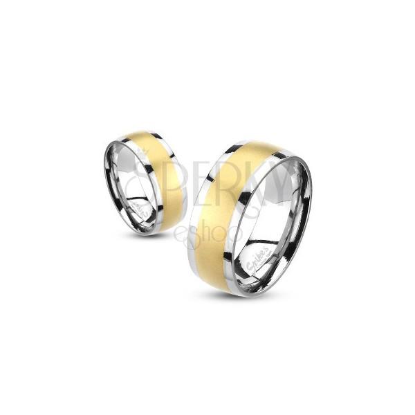 Obrączka ze stali z matowym szlifowanym złotym pasem środkowym