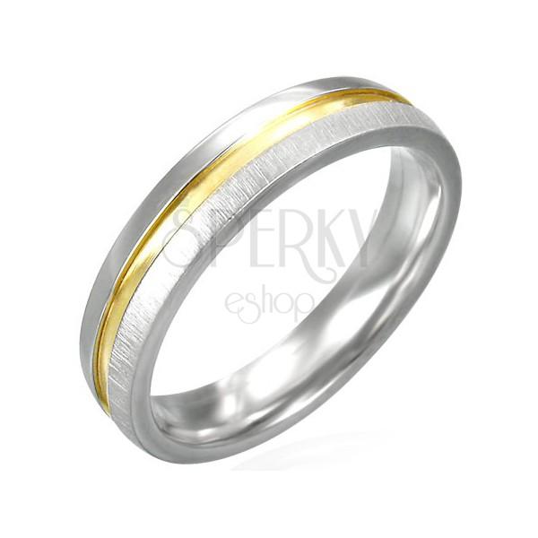 Stalowy matowy pierścionek o złotym, błyszczącym środku