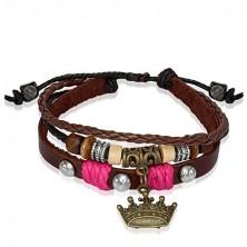 Skórzana bransoletka z koralikami, królewska korona - różowy sznurek