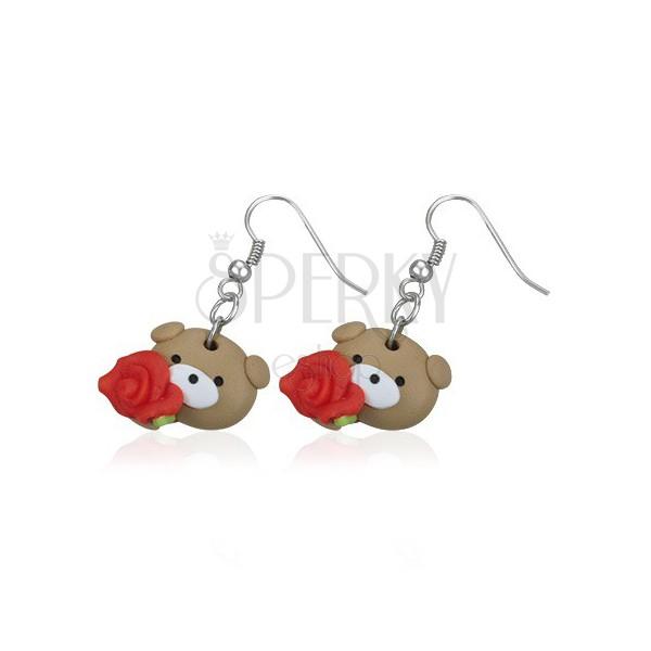 Kolczyki Fimo - miś z czerwoną różą