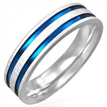Stalowy matowy pierścionek z dwoma niebiesko-fioletowymi pasami