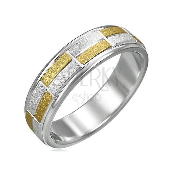 Damski dwukolorowy pierścionek piaskowany, małe prostokąty