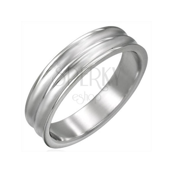 Stalowy szeroki pierścionek z dwoma rowkami