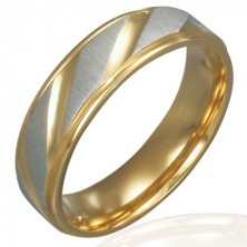 Obrączka ze stali - złoto-srebrny kolor, ukośne rowki