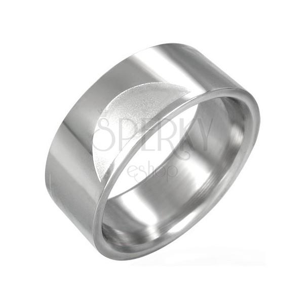 Stalowy gładki pierścionek z matowymi półkolami