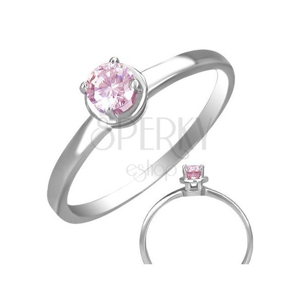 Pierścionek ze stali z osadzonym różowym oczkiem