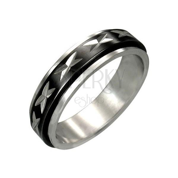 Stalowy pierścionek z ruchomym środkowym czarnym pasem