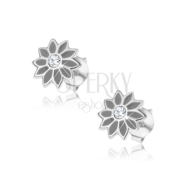 Srebrne kolczyki 925 - szary kwiatek z cyrkonią